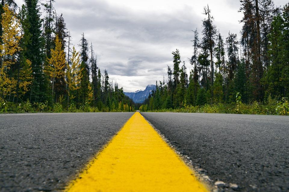 Highway, Wilderness, Yellow Line, Asphalt, Landscape
