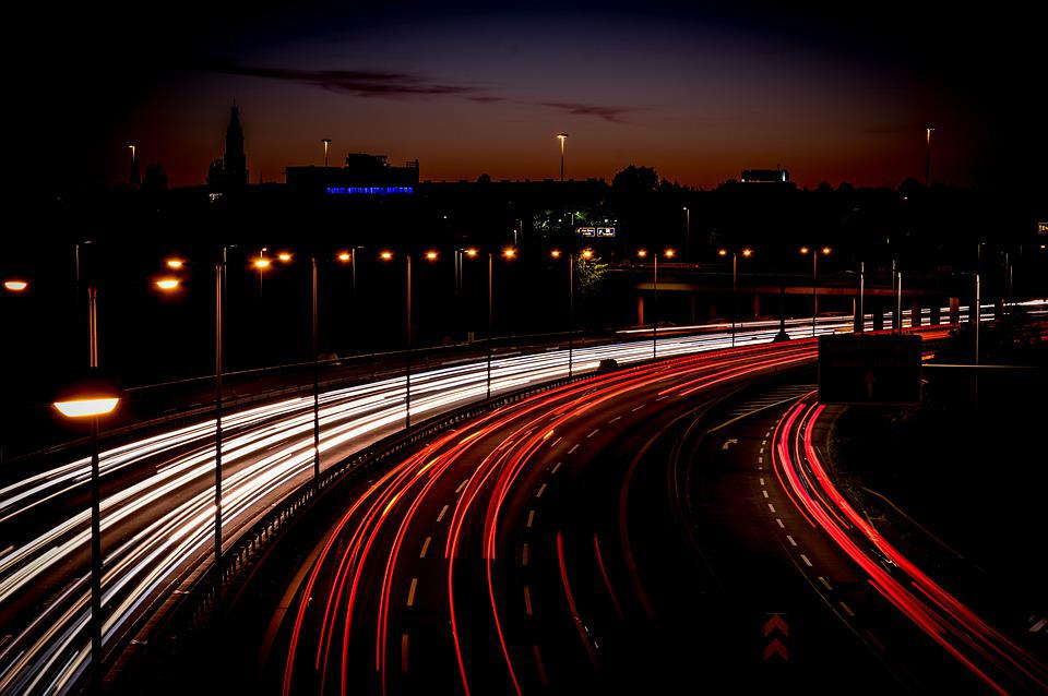 Highway, Light Trail, Long Exposure, Speed, Traffic