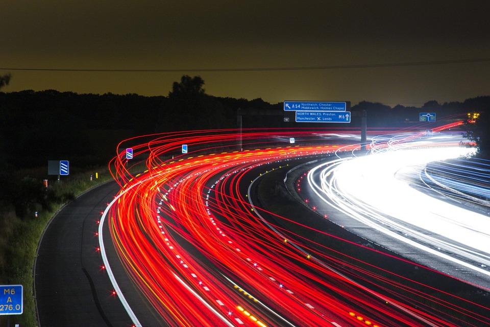 Traffic, Highway, Lights, Night, Road, Long Exposure
