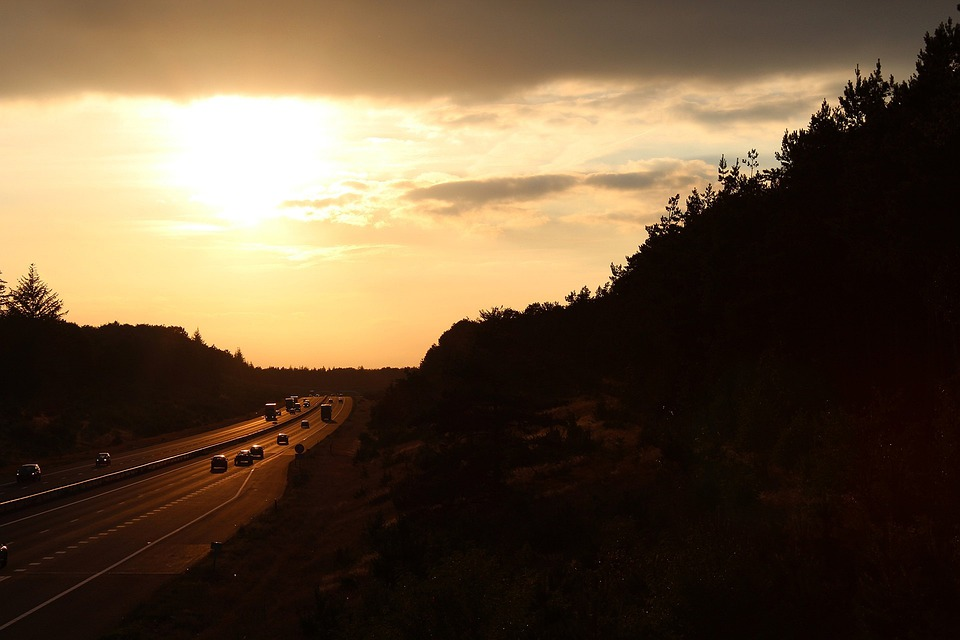Street, Traffic, Highway, Motorway, Sunset, Road