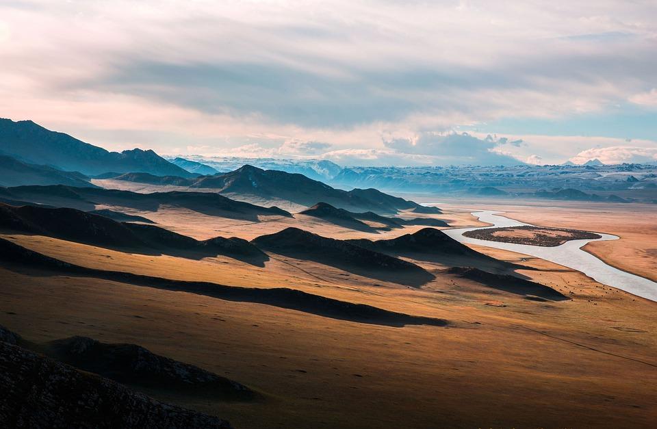 Prairie, Highway, The Scenery, Mountain