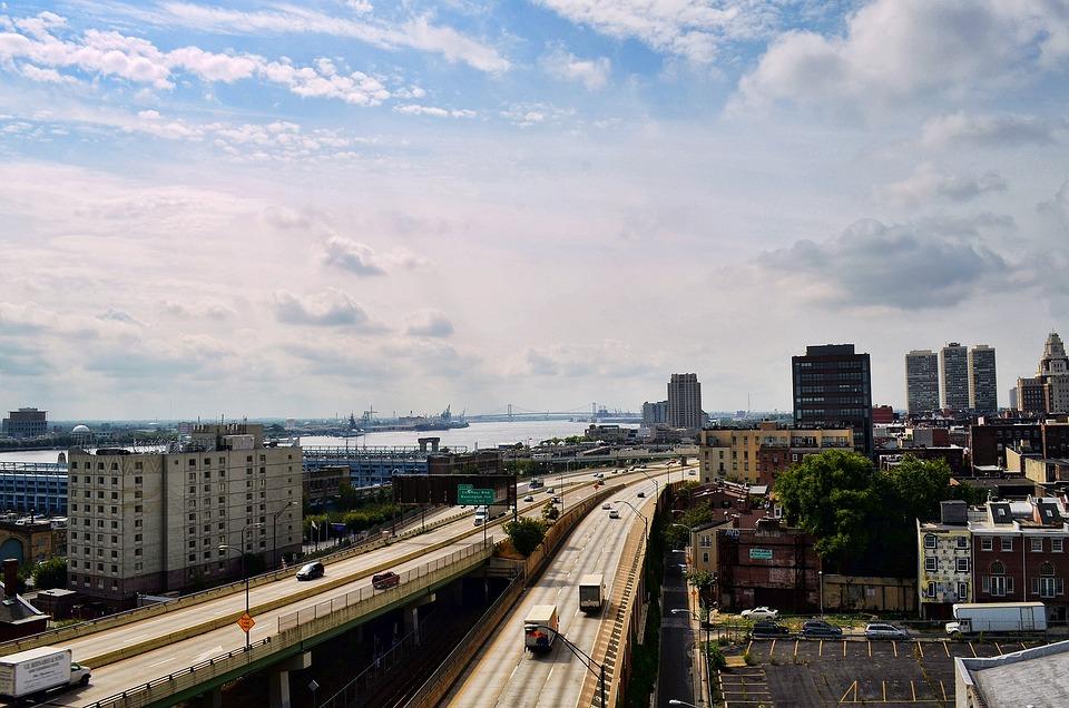 Philadelphia, Highway, Pennsylvania, Skyline, Cityscape