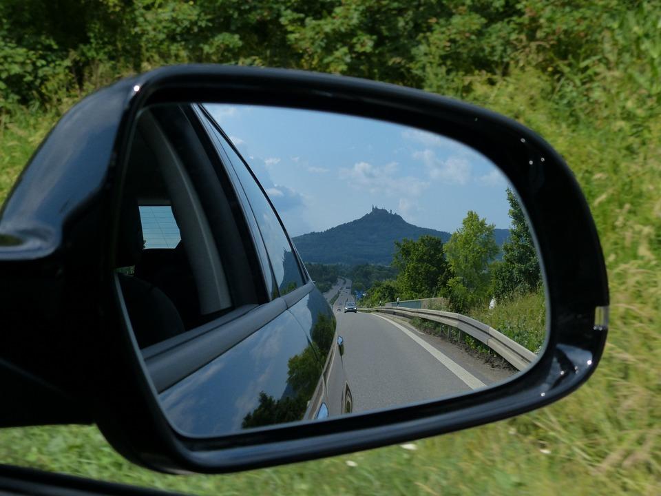 Rear Mirror, Mirrors, Auto, Vehicle, Road, Highway