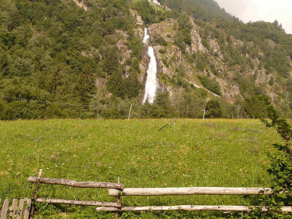 Waterfall, Landscape, Hike, Meadow, Mountain Nature