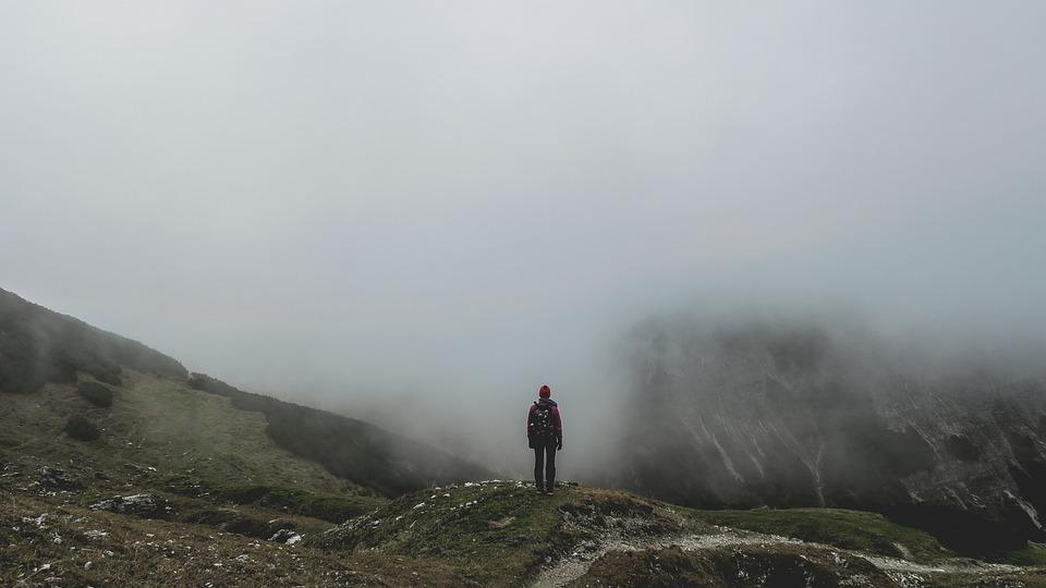 Adventure, Cold, Fog, Foggy, Hiker, Hiking, Man, Mist