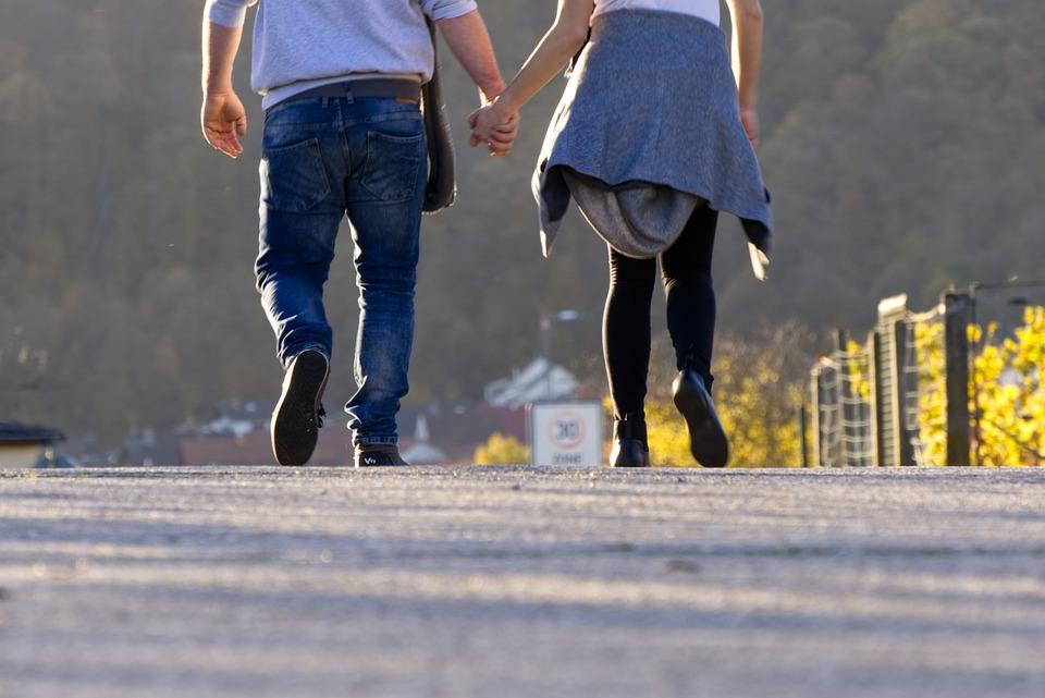 Pair, Love, Romance, Walk, Go, Run, Hiking, Asphalt