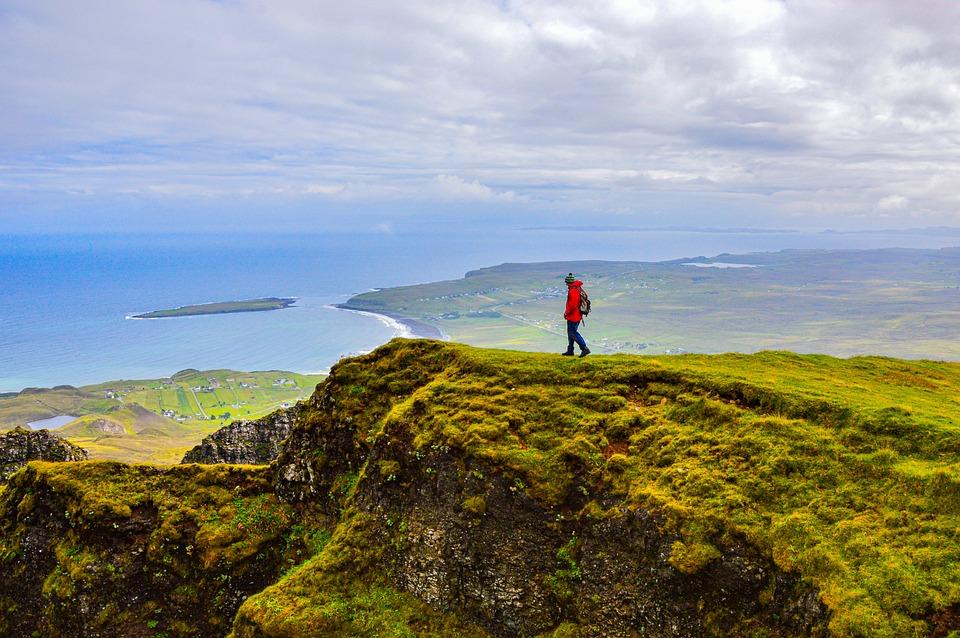 Man, Hiking, Island, Mountains, Alpine, Landscape