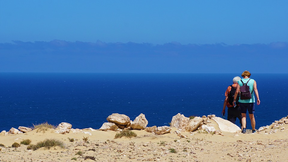 Woman, Man, Together, Hiking, Sea, Ocean, Island