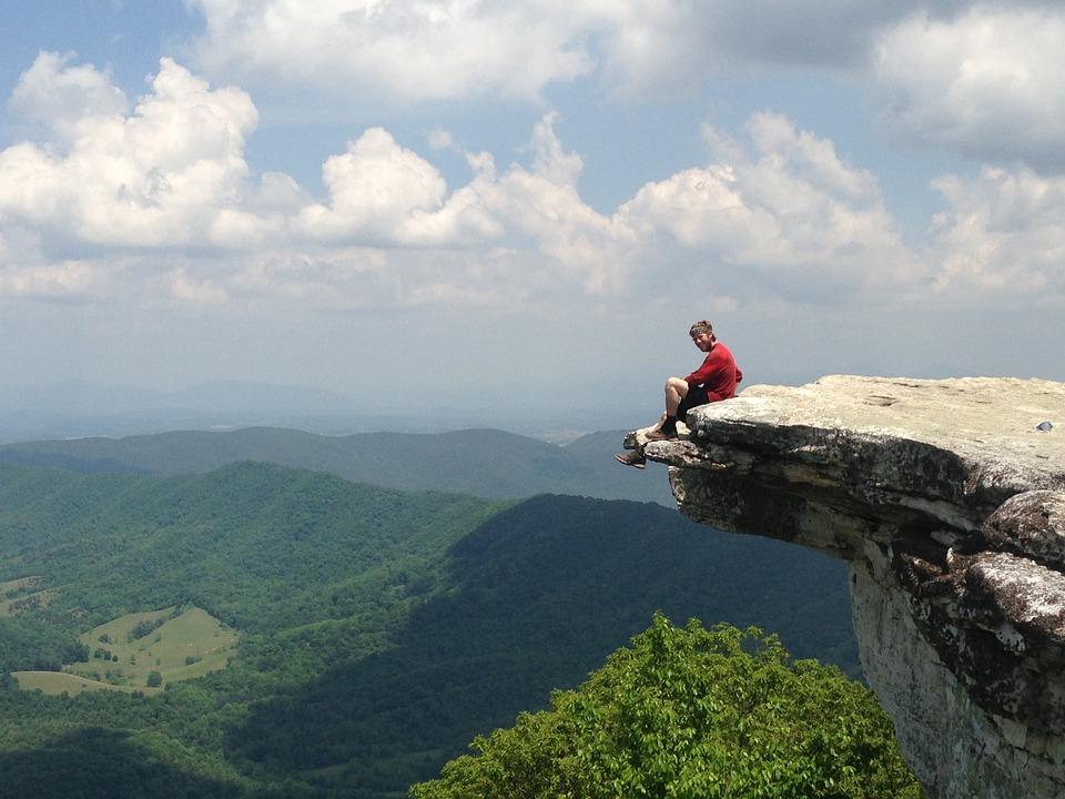 Man, Sitting, Rock, Knob, Hiking, Mountain