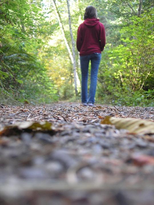 Girl, Walking, Autumn, Outdoor, Young, Woman, Hiking
