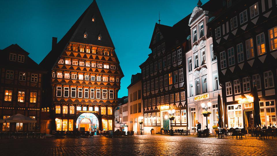 Hildesheim, Night, City, Germany, Street, Lights