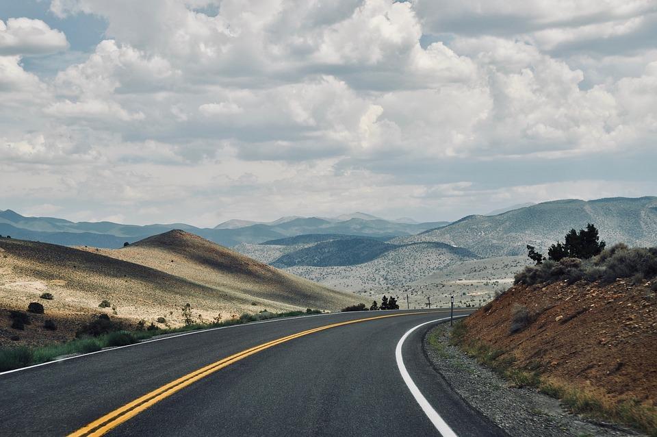America, Usa, Road, Landscape, Nature, Hill, Clouds