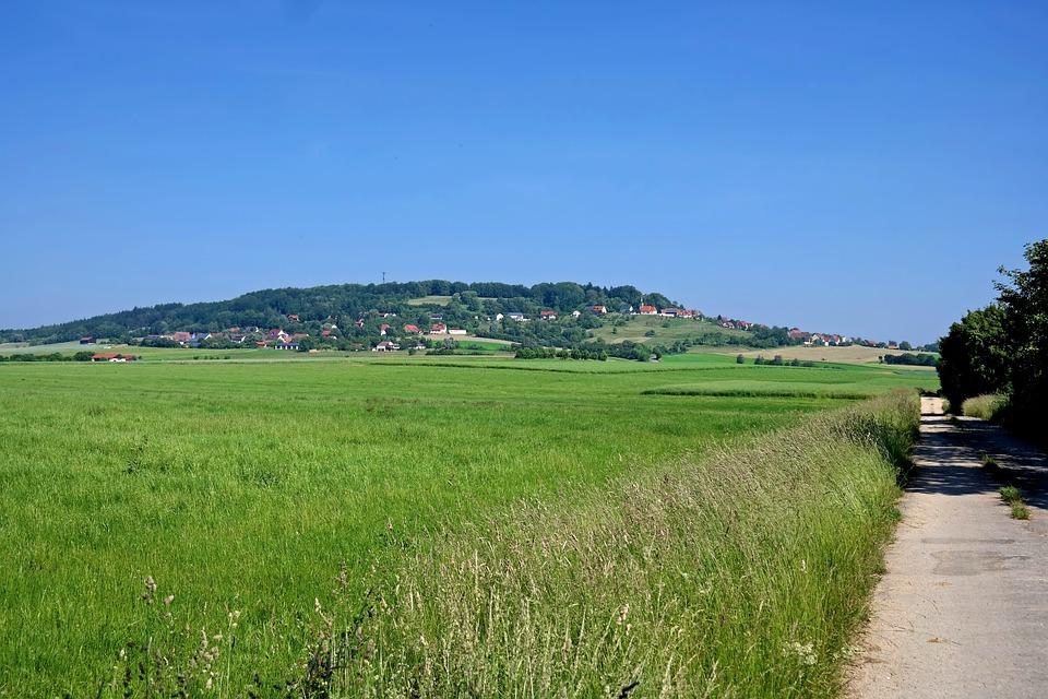 Germany, Field, Road, Path, Trail, Rural, Village, Hill