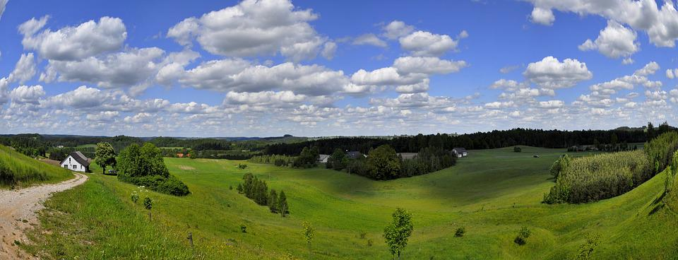 Panoramic, Nature, Lawn, Landscape, Sky, Hill, Cloud