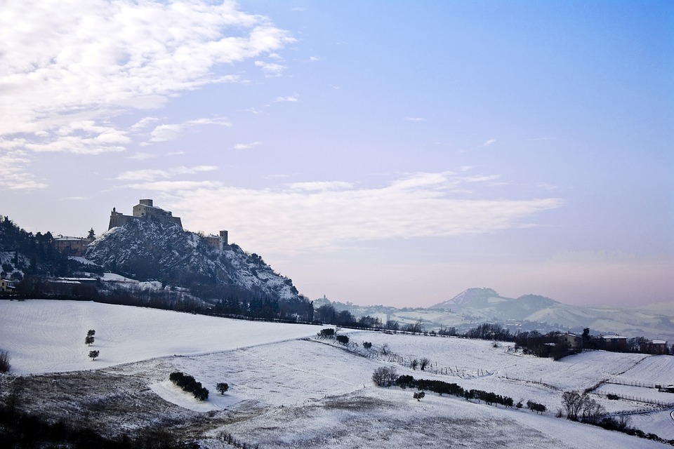 Verucchio, Snow, Landscape, Hill, Hills, Romagna