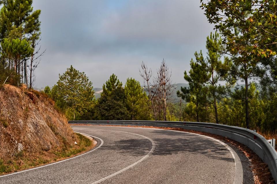 Road, Corner, Trees, Drive, Asphalt, Hillclimb, Slope