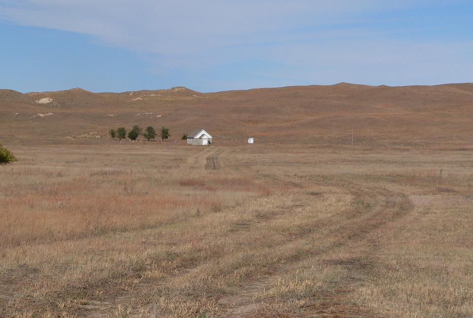 Dry Valley, Church, Nebraska, Landscape, Scenic, Hills