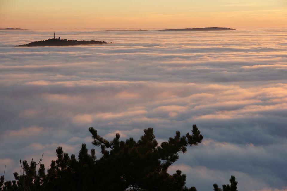 Fog, The Gulf Of Trieste, Hills, Clouds, Landscape