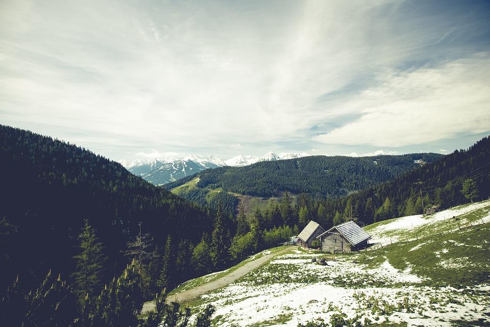 Clouds, Cottage, Hills, Landscape, Mountains, Nature