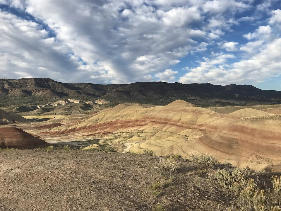 Sky, Clouds, Hills, Painted Hills, Nature, Outdoors