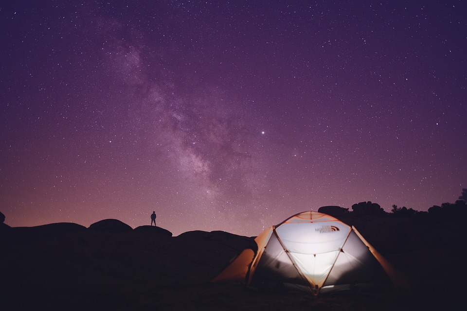 Tent, Camping, Hills, Man, Silhouette, Sky, Stars