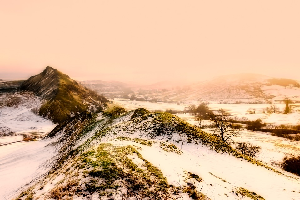England, Hills, Sunrise, Morning, Snow, Winter