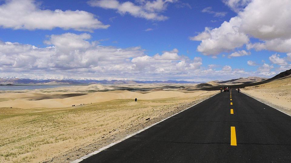 Tibet, Space, Road, Himalayas, Roadway, Sky, Clouds