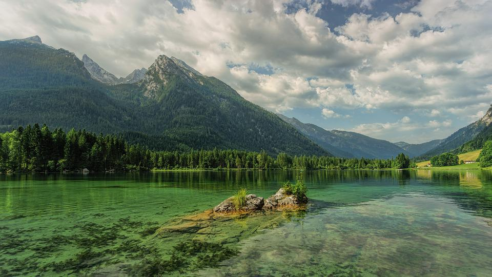 Hintersee, Bergsee, Mountains, Ramsau, Alpine, Clouds