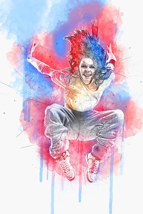 Girl, Woman, Female, Dancing, Pose, Hip Hop, Jump