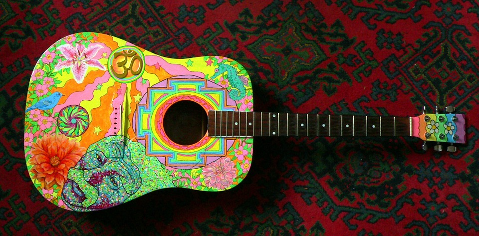 Acoustic Guitar, Hippie, Guitar, Painted, 60ies, Art