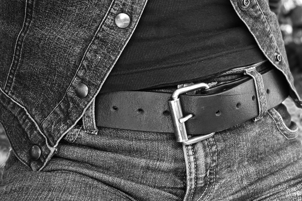 Person, Woman, Body, Hips, Jeans, Belt, Buckle, T-shirt