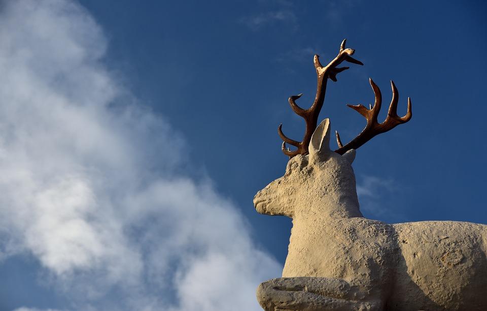 Hirsch, Statue, Animal, Sculpture, Antler, Park