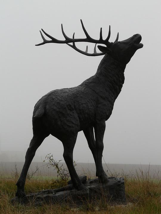 Red Deer, Bronze Statue, Hirsch, Cervidae