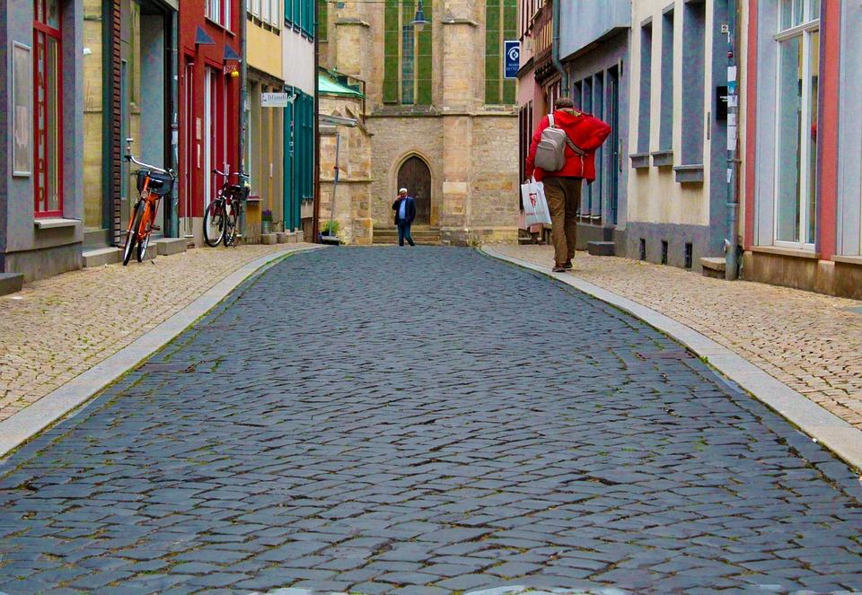 Erfurt, Historic Center, Alley, Cobblestones, Germany