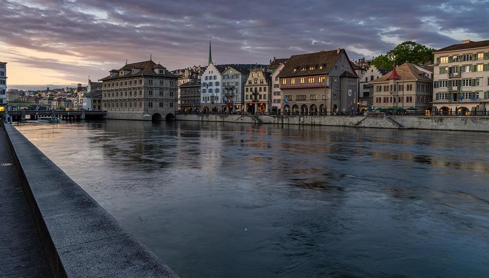 River, Historic Center, Switzerland, Architecture, Sky