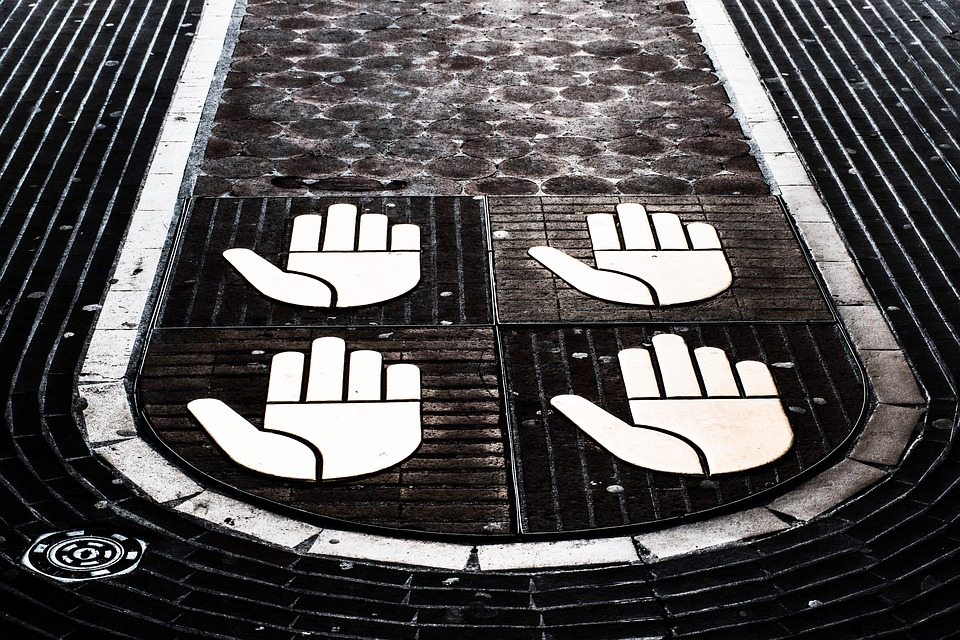 Hands, Symbolic, Cobbled Walkway, Historic