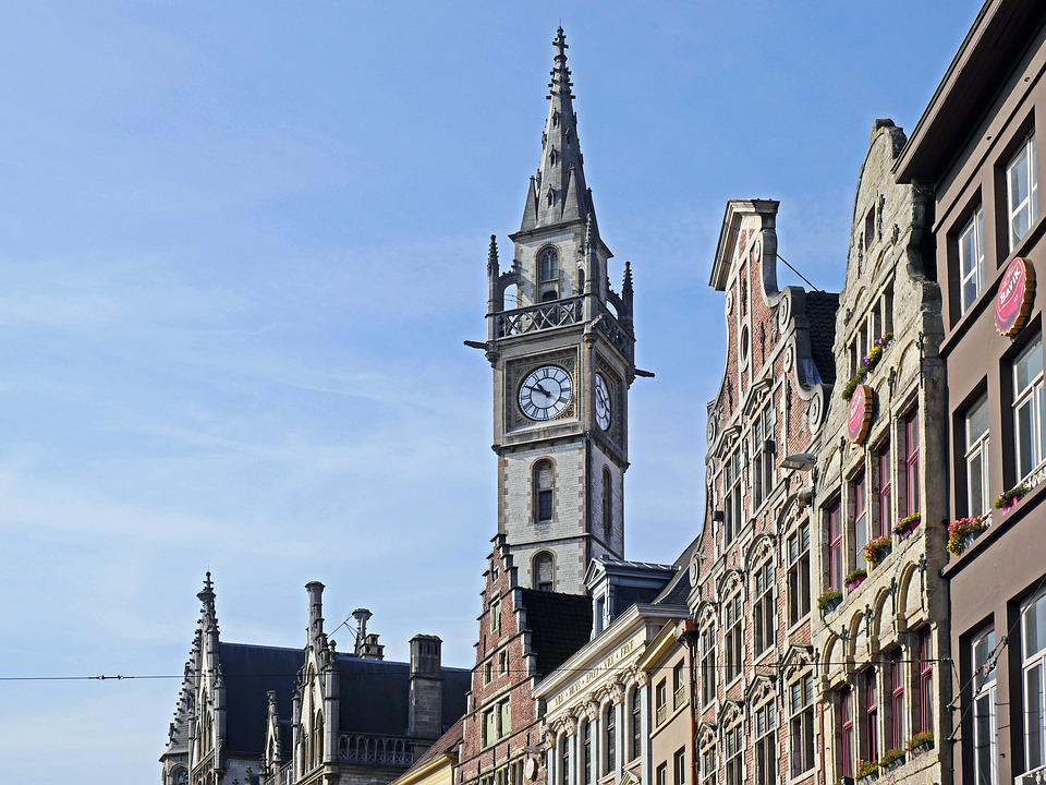 Gent, Historic Gable, Clock Tower, Row Of Houses
