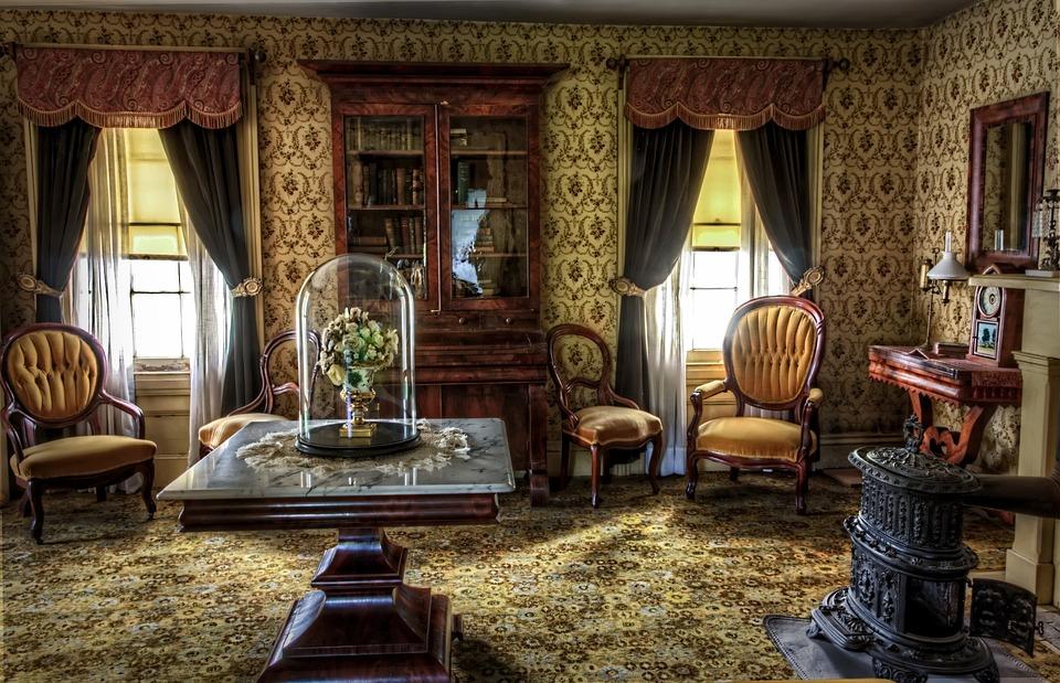 Living Room, Victorian, Historic, Vintage, Building