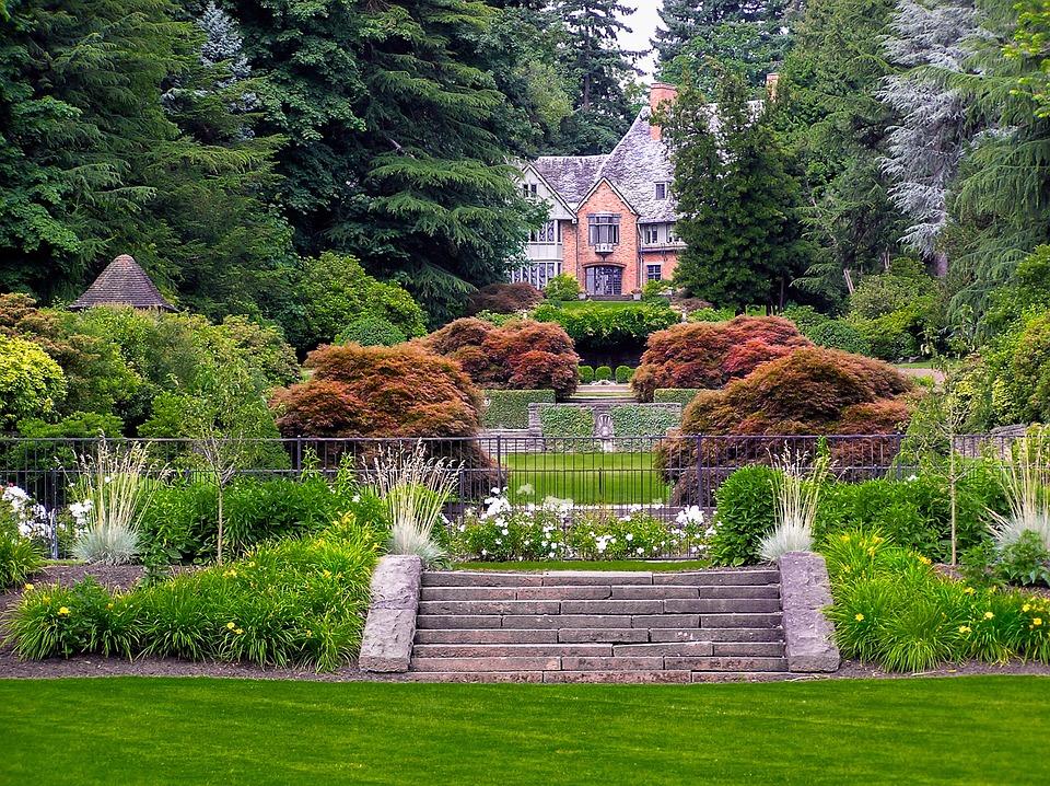 Manor, House, Formal, Garden, Fall, Estate, Historical