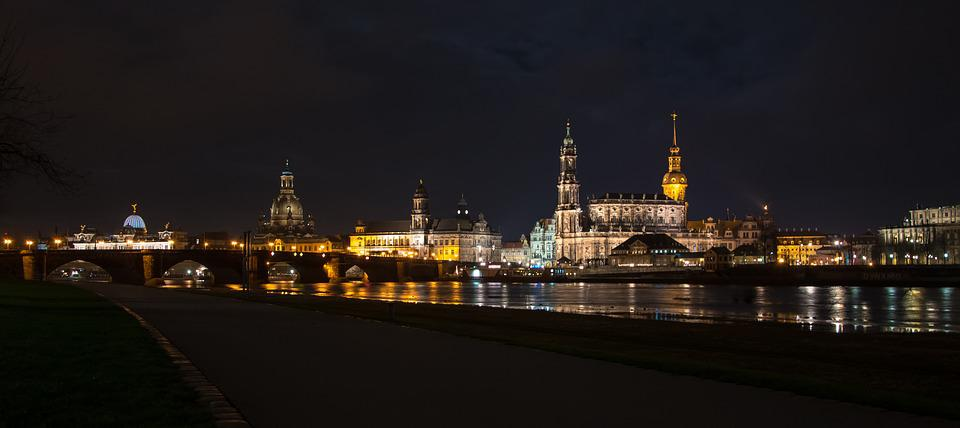 Dresden, Elbe, Night, Evening, Historically, Water