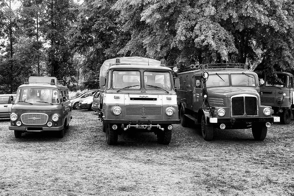 Black And White, Oldtimer, Vehicles, Historically, Fire