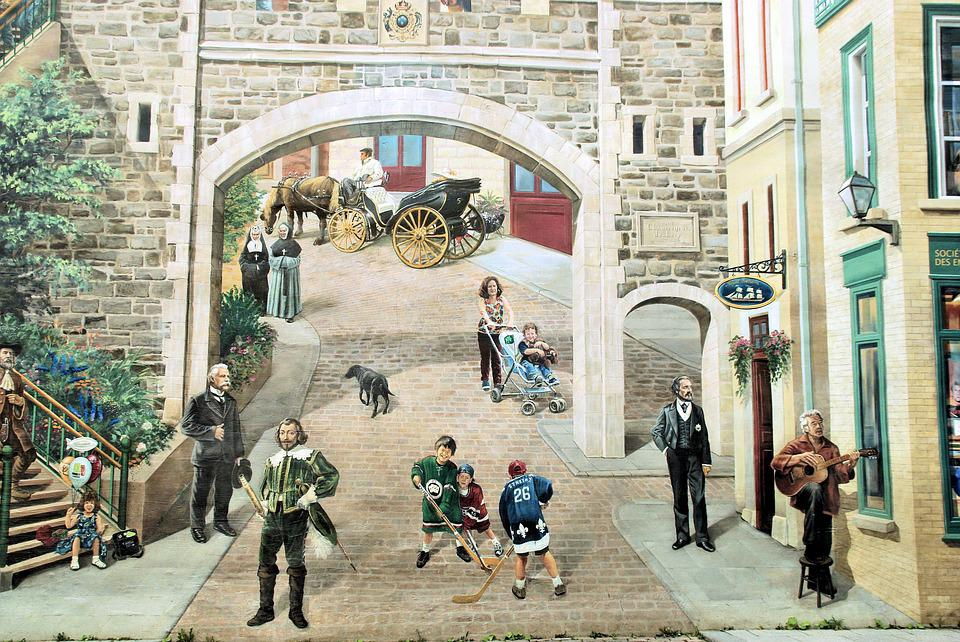 Canada, Quebec, Old Town, Decoration, Fresco, History
