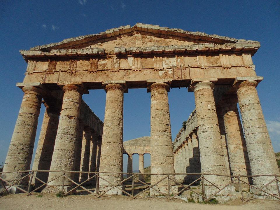 Temple, Magna Grecia, Columns, Sky, Sicily, History