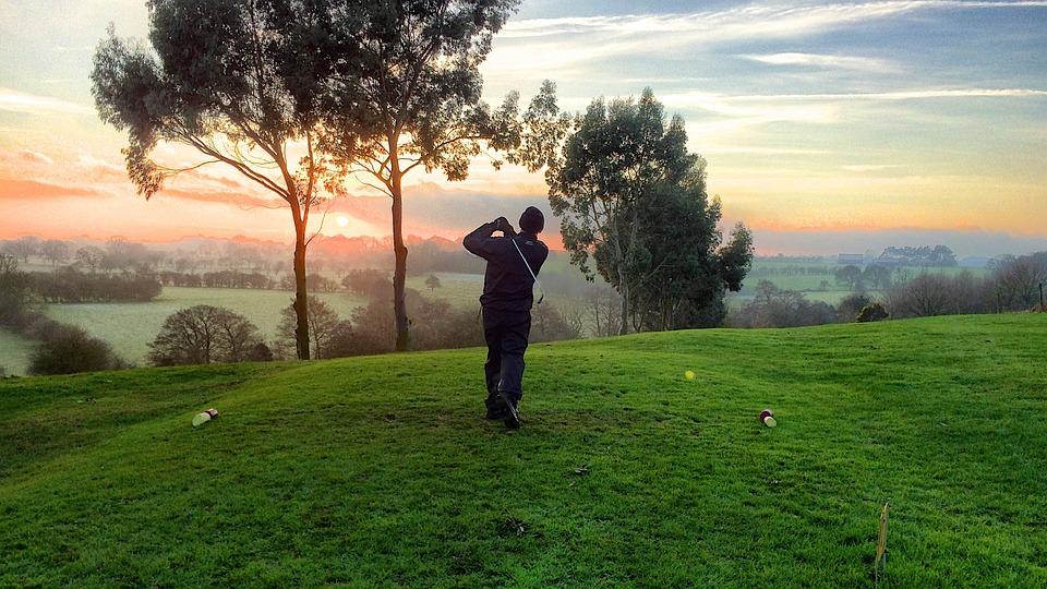 Golf, Golfer, Hit, Sports, Grass, Green, Trees