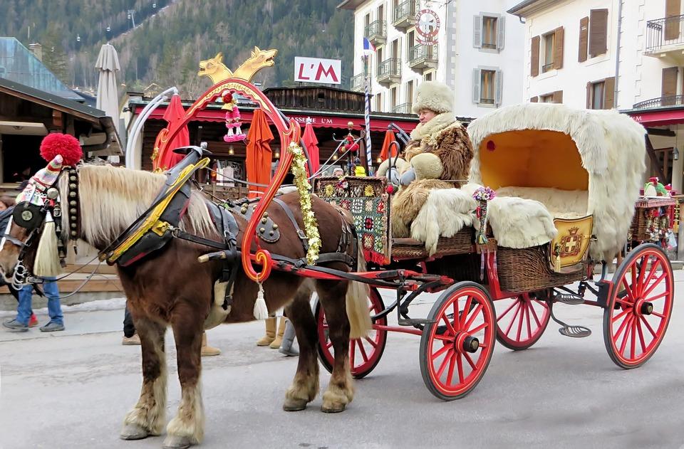 Chamonix, Carriage, Hitch, Traffic, Horse, Drawn, Taxi