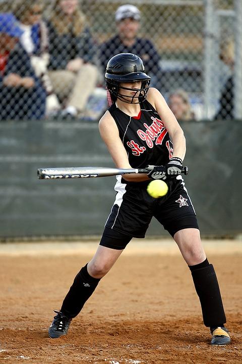 Softball, Batter, Female, Swinging, Hitting, Hitter