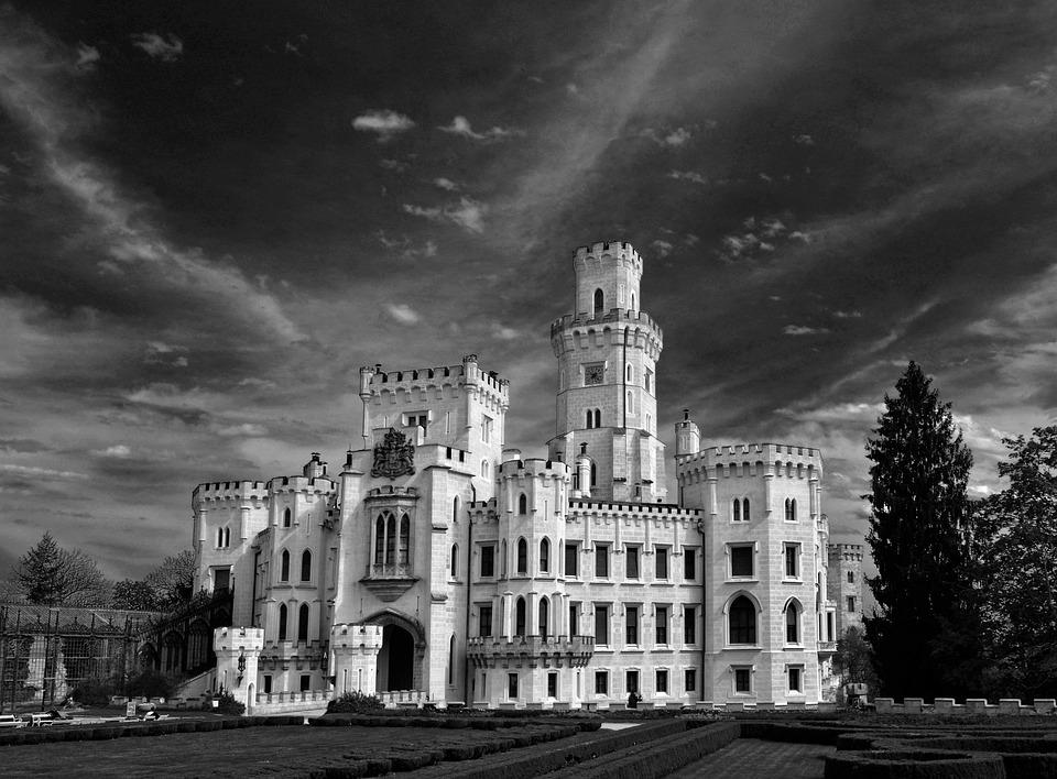 Castle, Hluboká, Black And White
