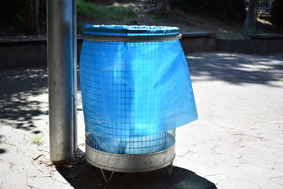 Garbage Can, Hof, Blue, Garbage