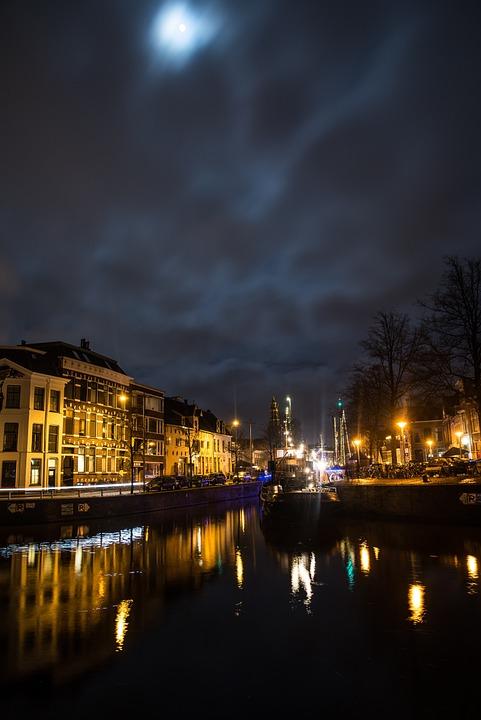 Groningen, City, Night, Dutch, Tourism, Hoge Der Aa