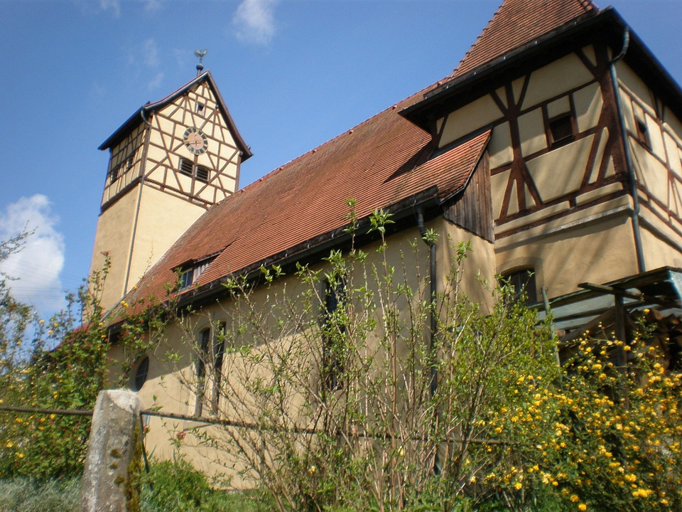 Church, Well, Rain Unterbach, Langenburg, Hohenlohe